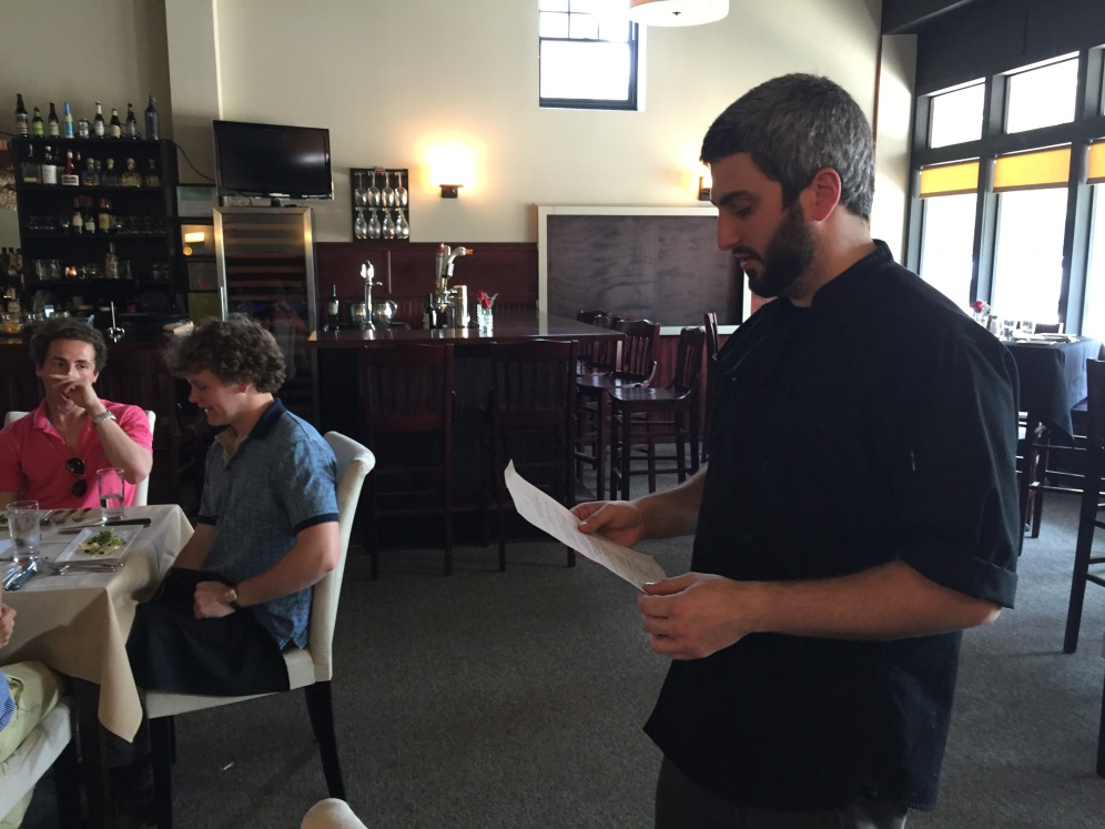 Chef, Christian Ferreira presents our impressive menu.