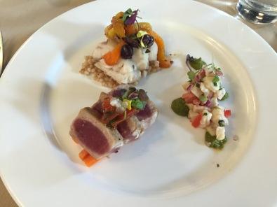 Fish Trio: native striped bass, seared tuna escabeche, butter poached monkfish