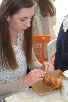Hannah and her croissant