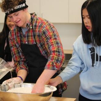 David and Christine mixing dough