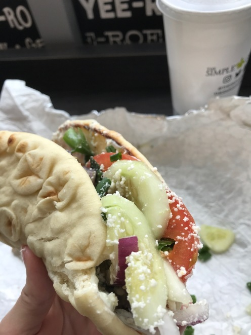 Pita with cucumbers