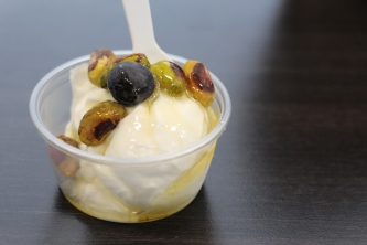 Greek Yogurt with pistachio, blueberry and honey