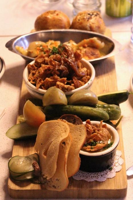 Bagel chips, Knishes, Gribenes, pickles (PuPu Platter)