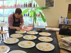 Greg preparing the plates
